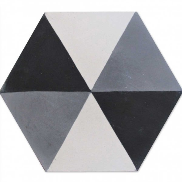 HEX02_V01 of the Hexagonal Collection from TassemiT Cement Tiles | Authentic Moroccan Tile