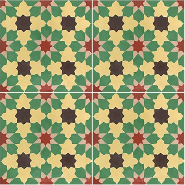 Multiple tiles of BER03_V02 from the Berber Collection TassemiT Cement Tiles | Authentic Moroccan Tile