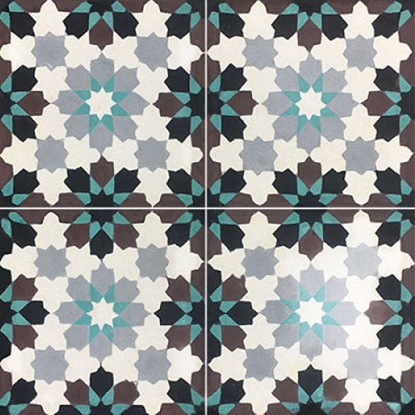 Multiple tiles of BER03_V03 from the Berber Collection TassemiT Cement Tiles | Authentic Moroccan Tile