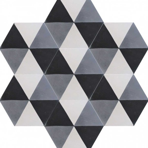 Multiple tiles of HEX02_V01 from the Hexagonal Collection TassemiT Cement Tiles | Authentic Moroccan Tile
