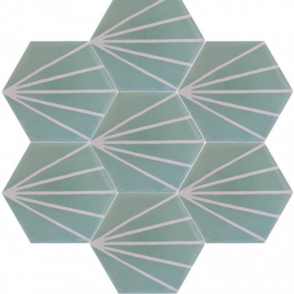 Multiple tiles of HEX06_V01 from the Hexagonal Collection TassemiT Cement Tiles | Authentic Moroccan Tile